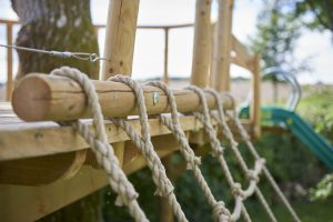 close up of treehouse platform rope rigging