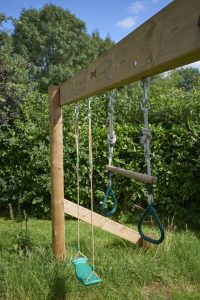 wooden swing frame with swings