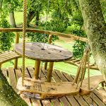 wooden treehouse platform with swings and table