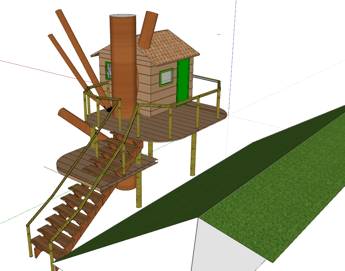 cgi model of a treehouse with ladder